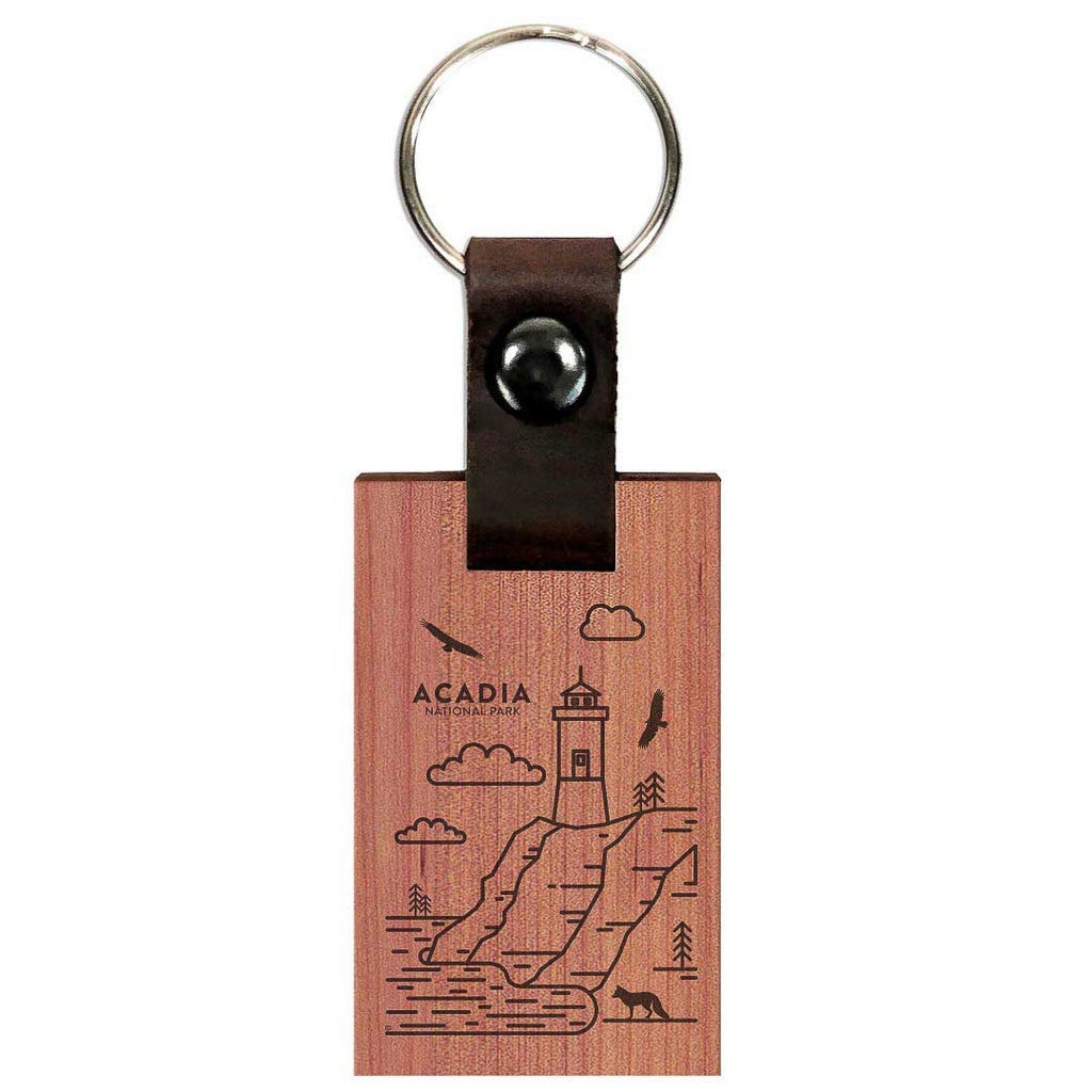Acadia National Park Wood Premium Key Chain