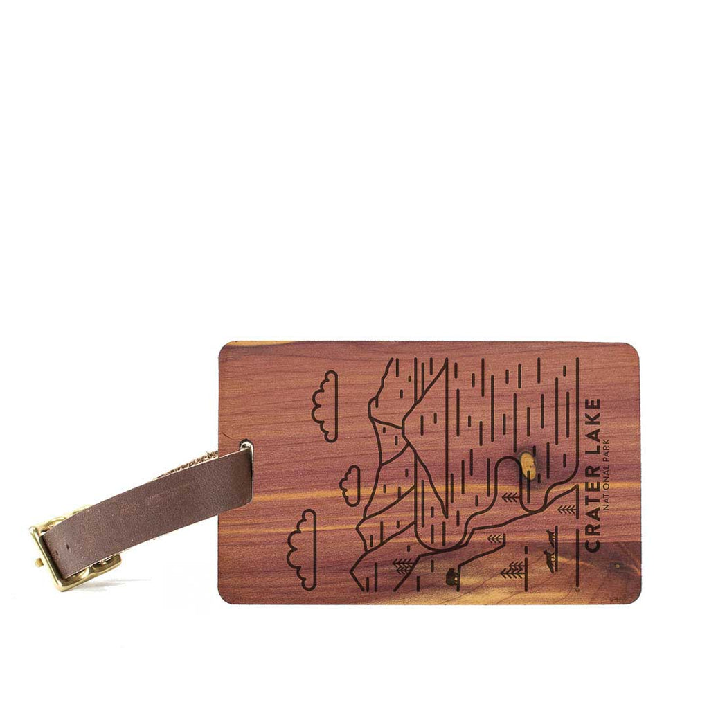 Crater Lake National Park Wood Luggage Tag