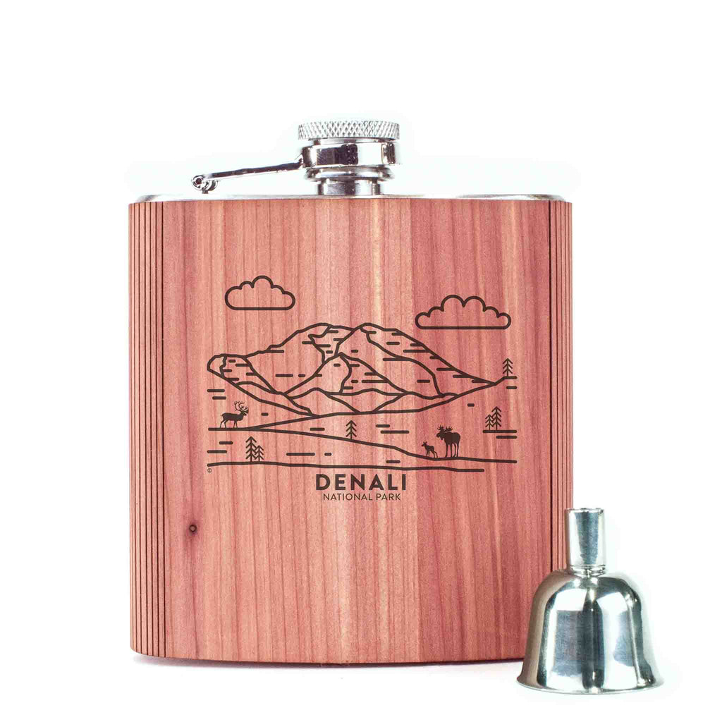 Denali National Park Wood 6 oz. Flask