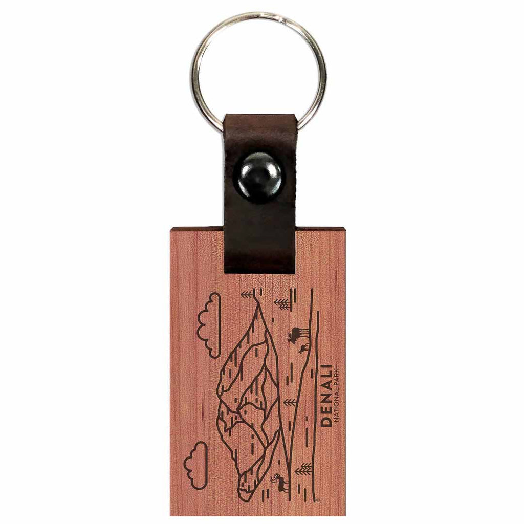 Denali National Park Wood Premium Key Chain