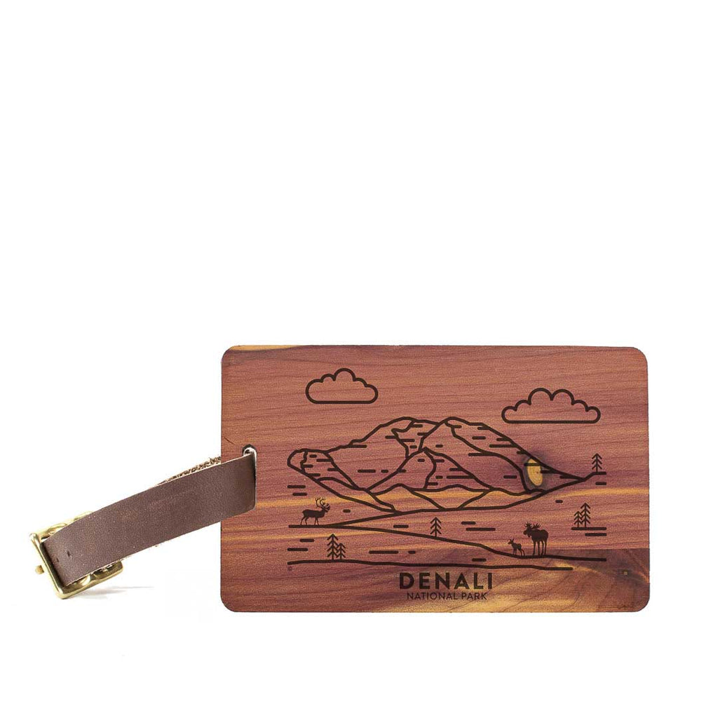 Denali National Park Wood Luggage Tag