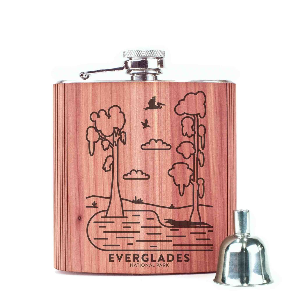 Everglades National Park Wood 6 oz. Flask
