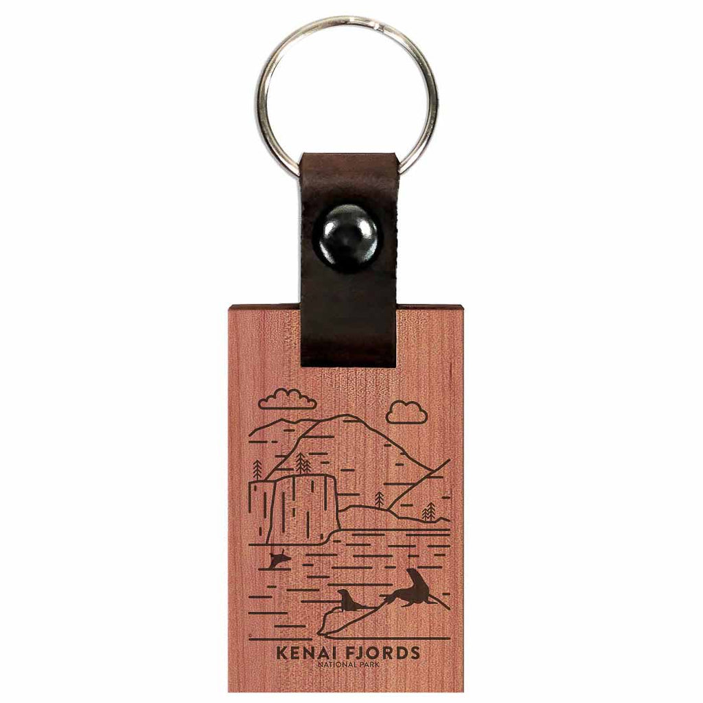 Kenai Fjords National Park Wood Premium Key Chain