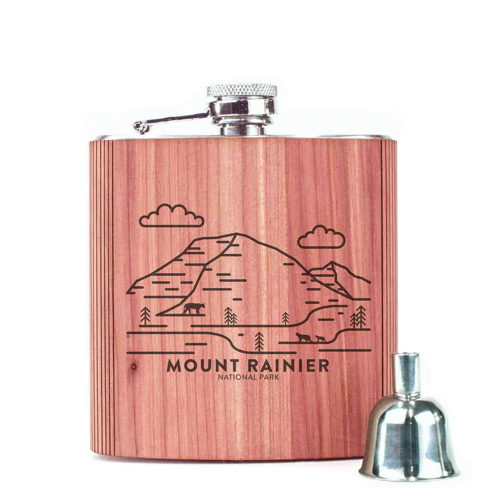 Mount Rainier National Park Wood 6 oz. Flask