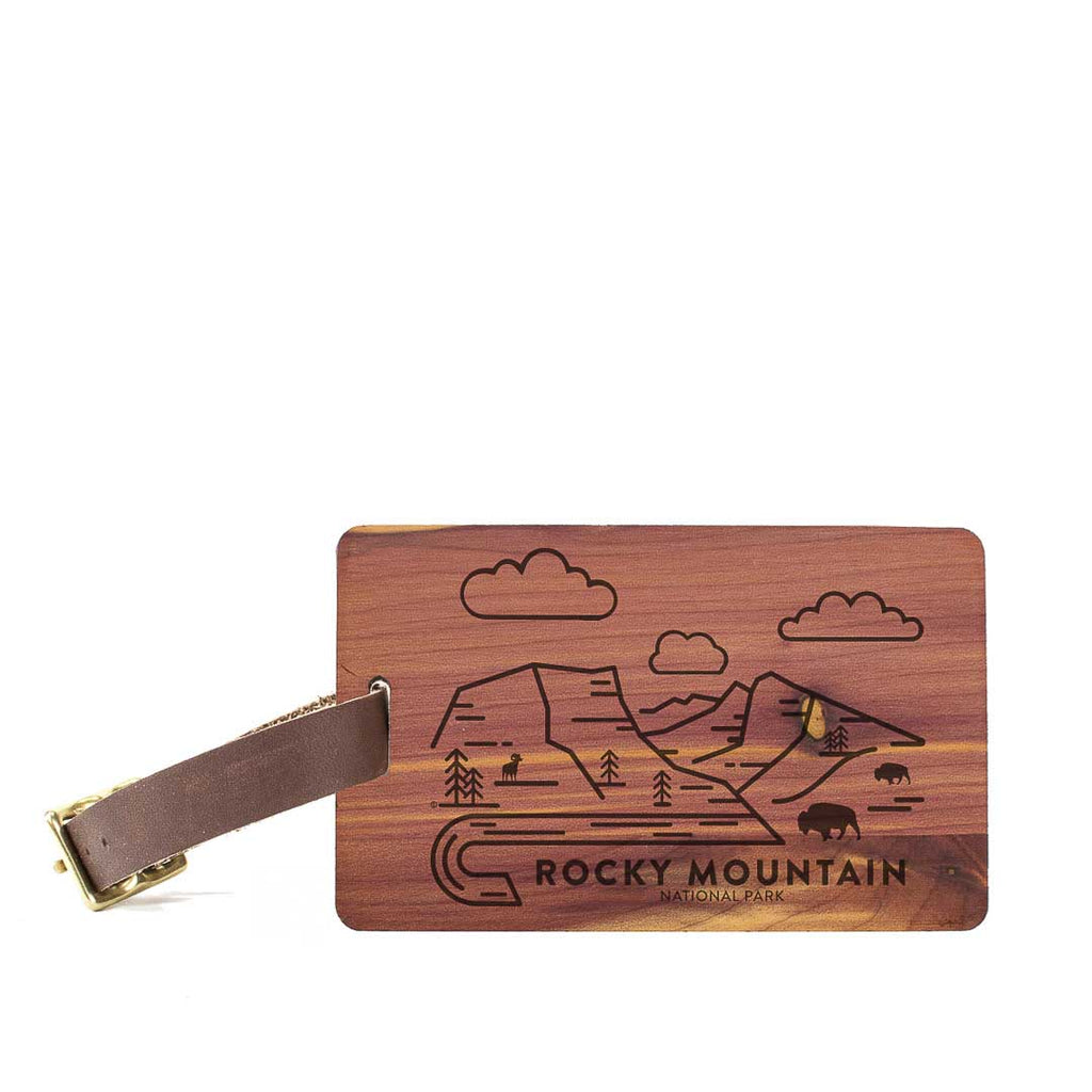 Rocky Mountain National Park Wood Luggage Tag