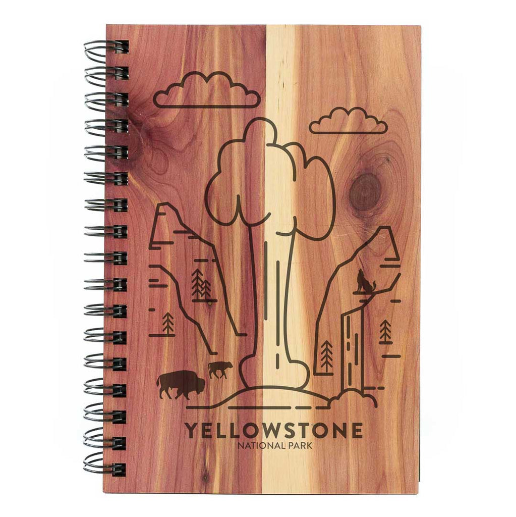 Yellowstone National Park Wood Spiral Journal