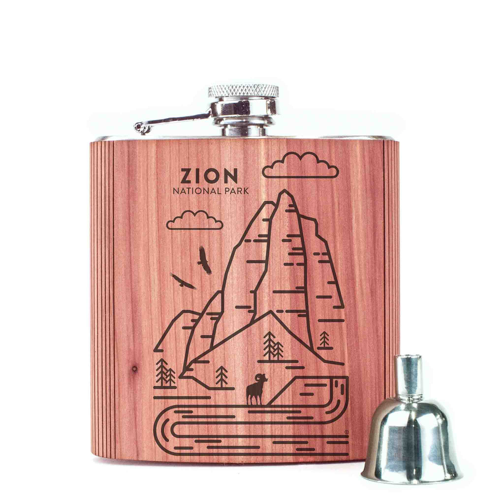 Zion National Park Wood 6 oz. Flask