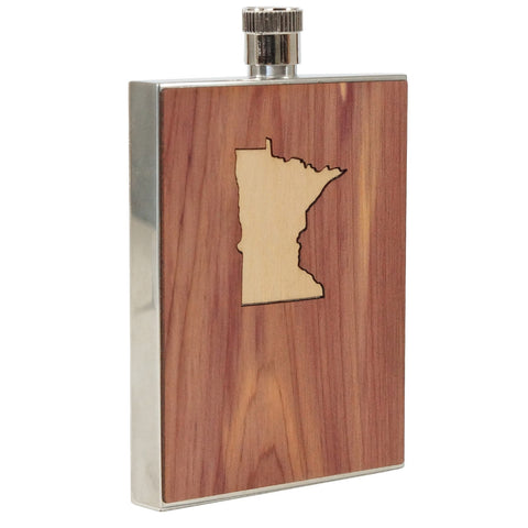 State Inlay Wood Flask