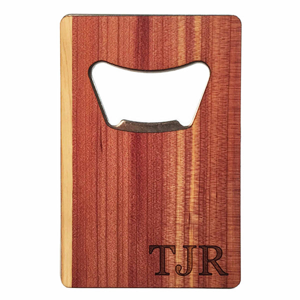 Real wood credit card bottle opener woodchuck usa for Cedar credit
