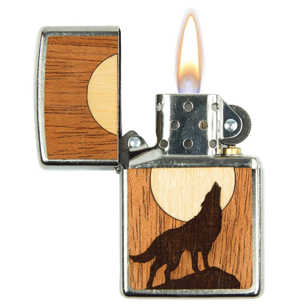 Howling Wolf Zippo Lighter With Inlay