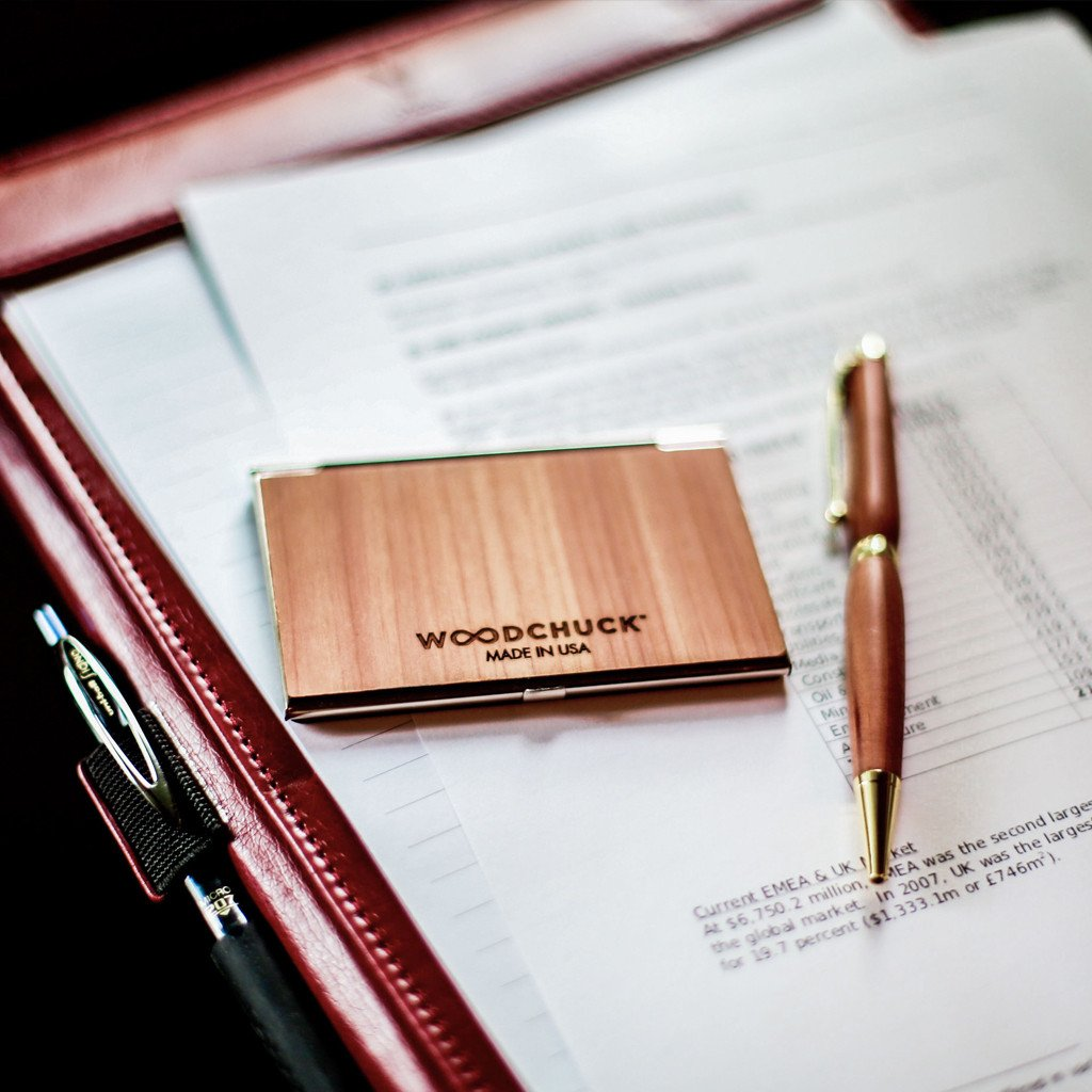 Customizable Wood Business Card Holdercase