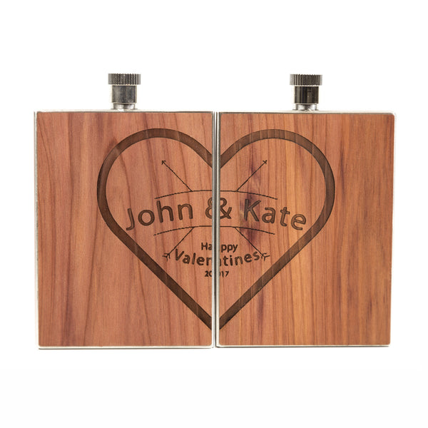 Couples Special Wood Flask 3 oz (set of 2 flasks) - woodchuckusa - 1