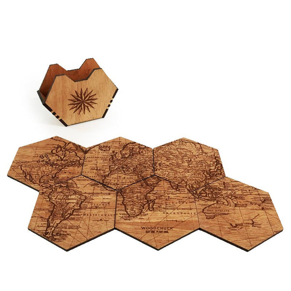 World Map Wood Coaster Set - woodchuckusa - 1