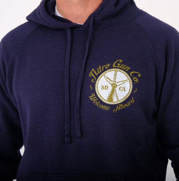 Welcome Aboard ! Unisex Special Blend Pullover Sweatshirt (Hooded) - Classic Navy