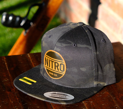 Classic Multicam Black Faux Leather Snapback Hat