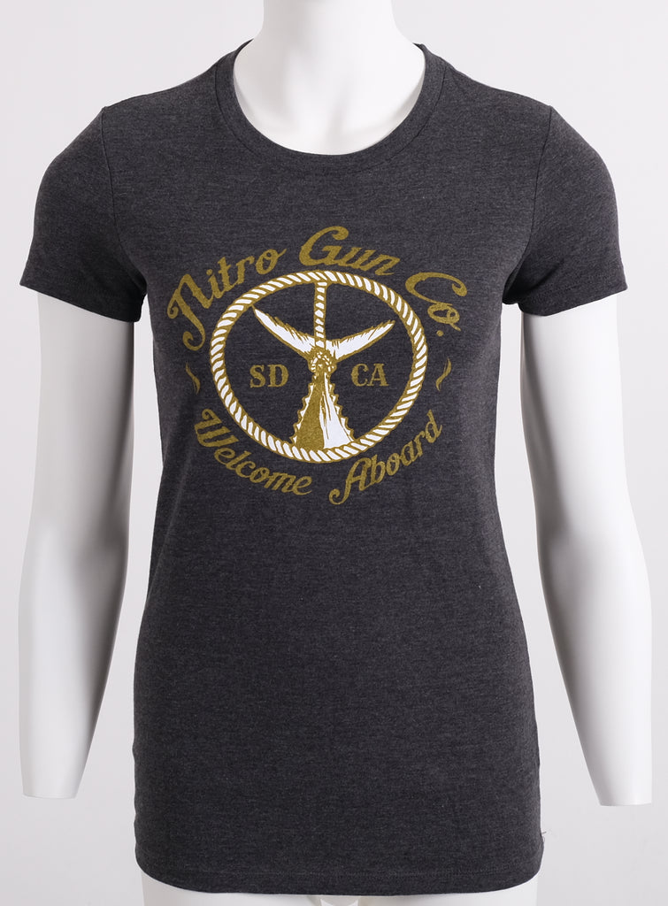 Lady's Welcome Aboard! Carbon Grey T Shirt