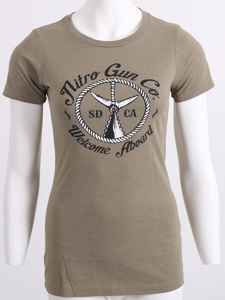Lady's Welcome Aboard! Olive T Shirt