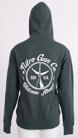 Welcome Aboard ! Unisex Zip Sweatshirt (Hooded) - Alpine Green