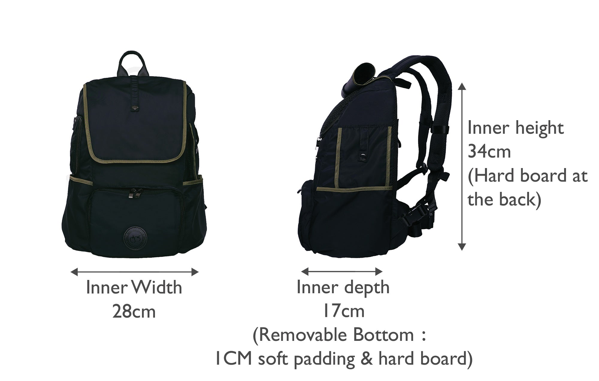 Black backpack dog carrier that is great for carrier small dog, front and side view