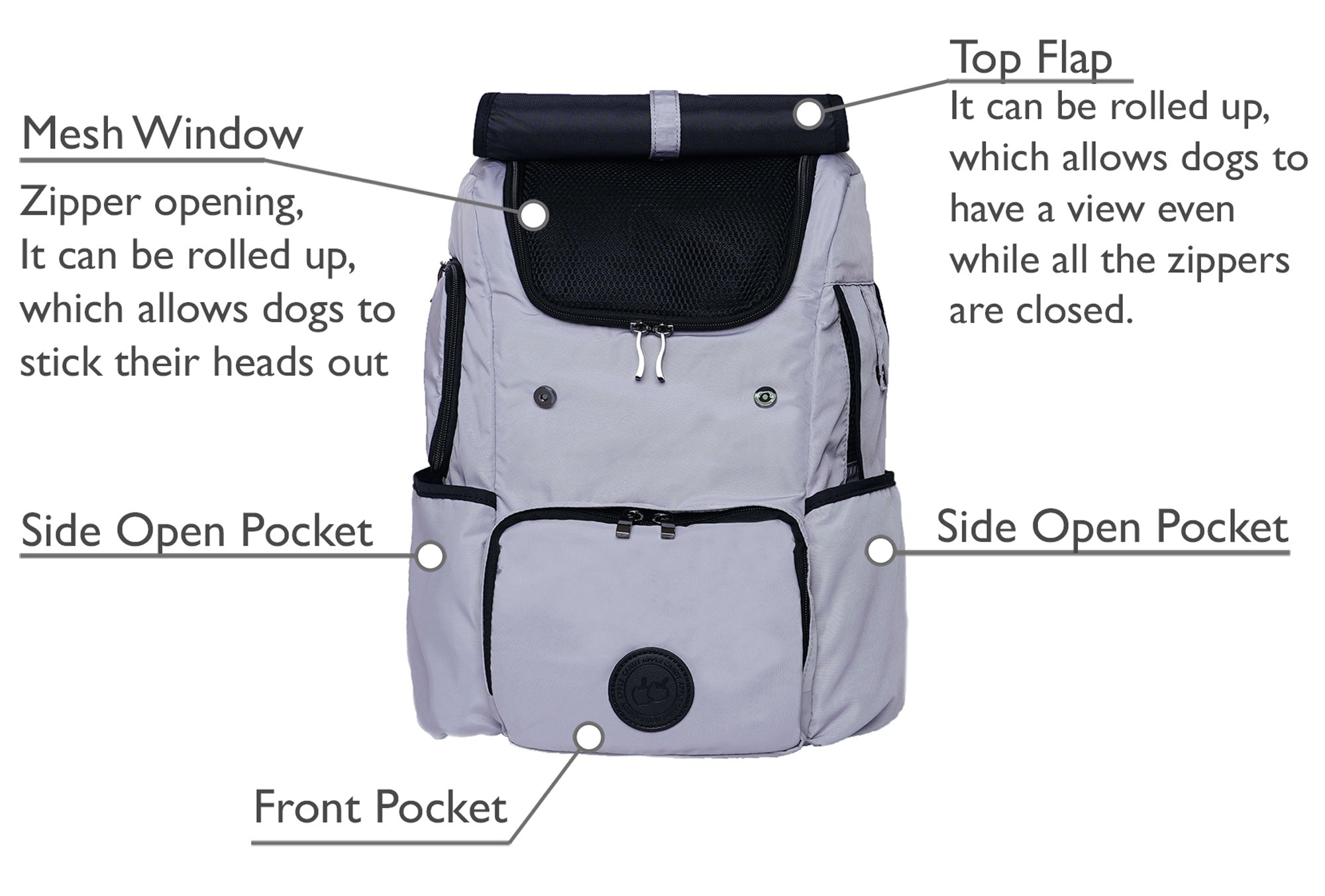 Backpack dog carrier product details, with two mesh windows, breathable, lots of storage pockets