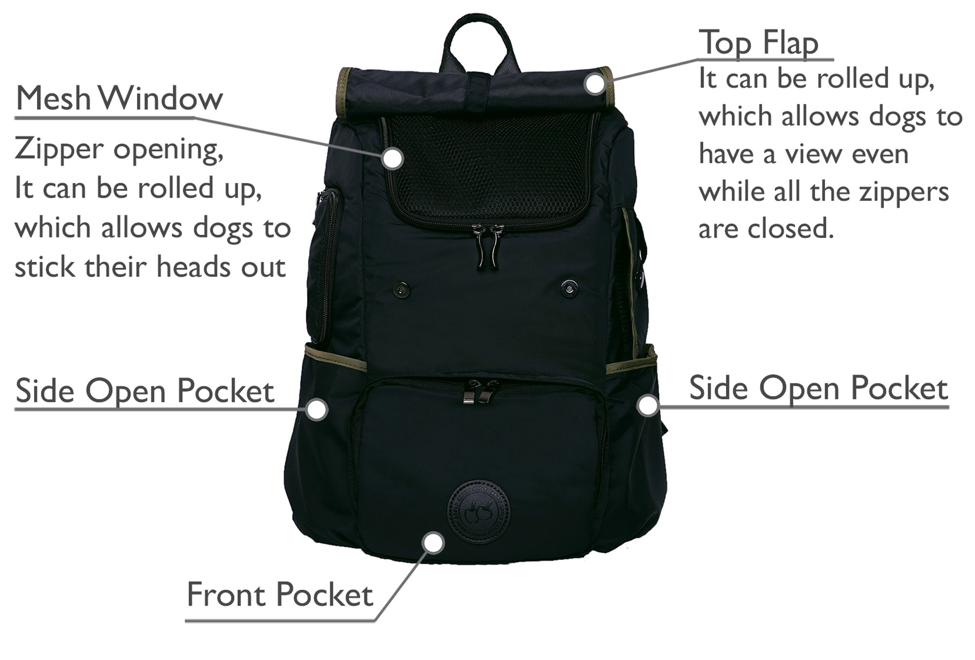 A black backpack pet carrier for small dog, with multiple mesh windows, breathable backpack pet carrier