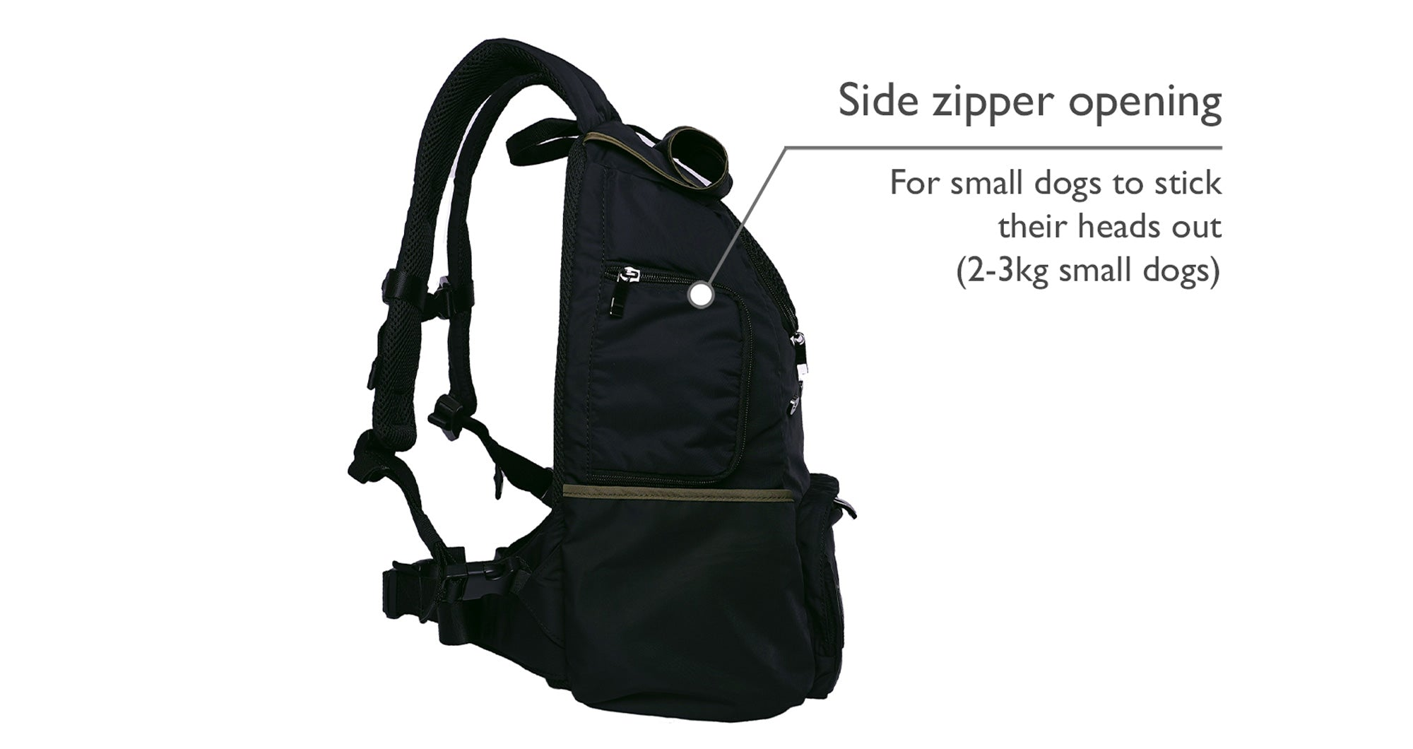 Black backpack pet carrier for small dog with a side zipper opening window