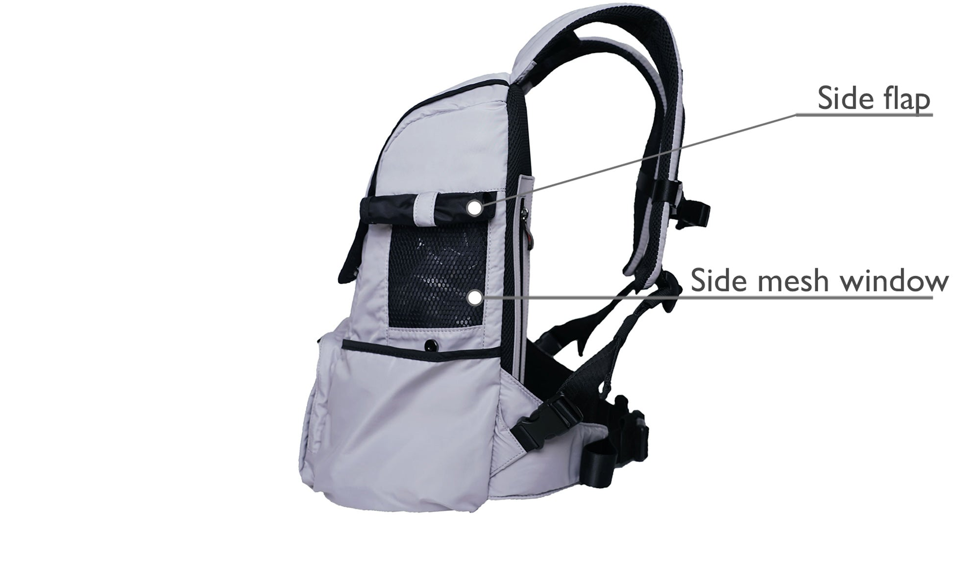 backpack dog carrier for small dog, a photo of the side view of the dog carrier