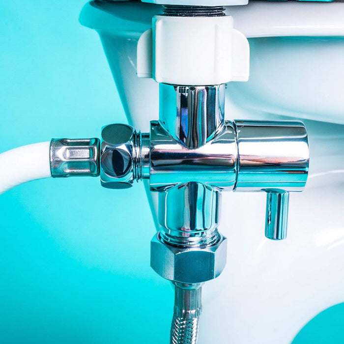 GenieBidet Hybrid LEAK-STOP Chromed Brass 3-Way T Adapter with ON/OFF. Simple hand-nut install. Resists cross-threading your plastic toilet fill valve.