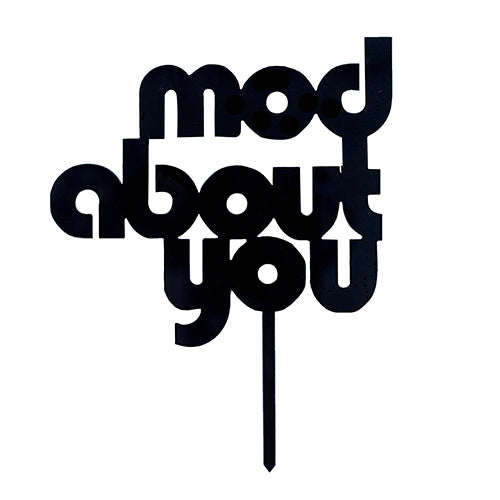 black mod about you cake topper