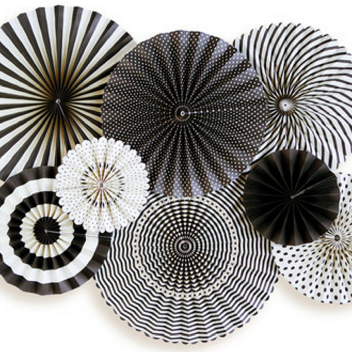 black and white paper fans