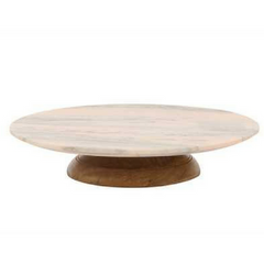 "14"" Round x 2-1/2""H Pink Marble Lazy Susan Revolving Stand"