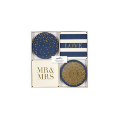 NAVY & GOLD LOVE COASTERS