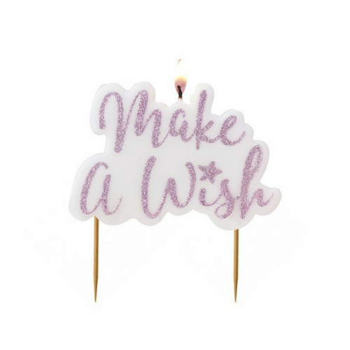 pink glittery make a wish birthday candle
