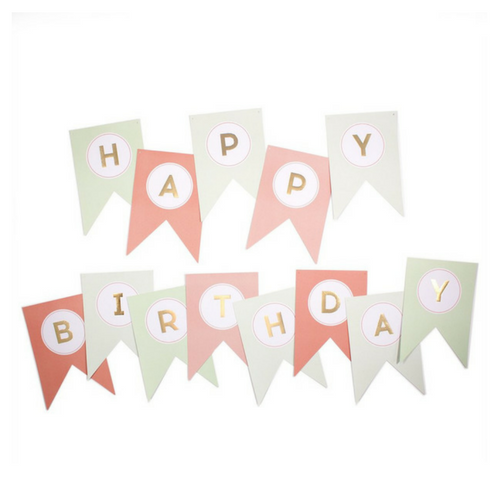 PINK & MINT HAPPY BIRTHDAY BANNER