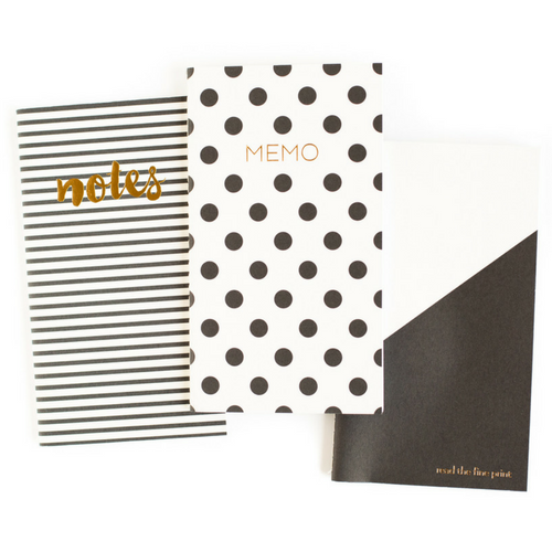 black and white mini notebooks