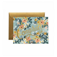 gold foil and floral congrats greeting card