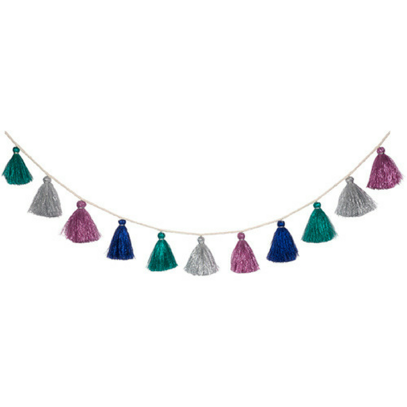 Wool Metallic Tassel Garland