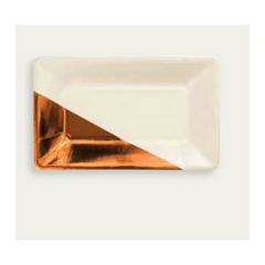 Ivory and Copper Foil Plates