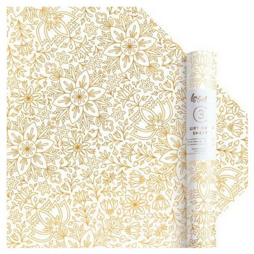 gold foil floral wrapping paper