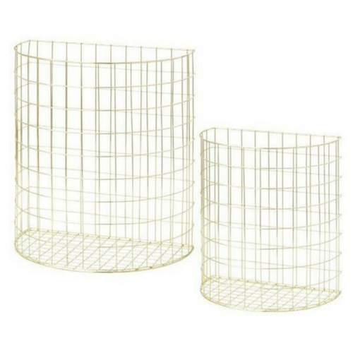 Gold Half Circle Shaped Wire Basket set of 2