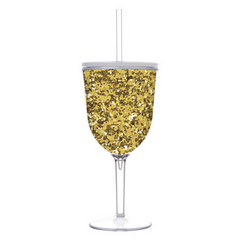 gold glitter acrylic wine glass