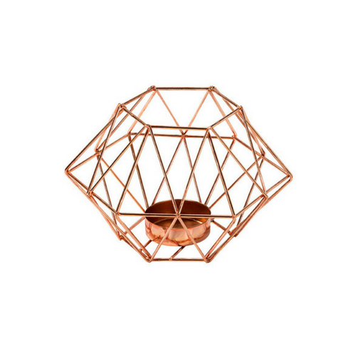 Copper Geometric Tea Light Holder