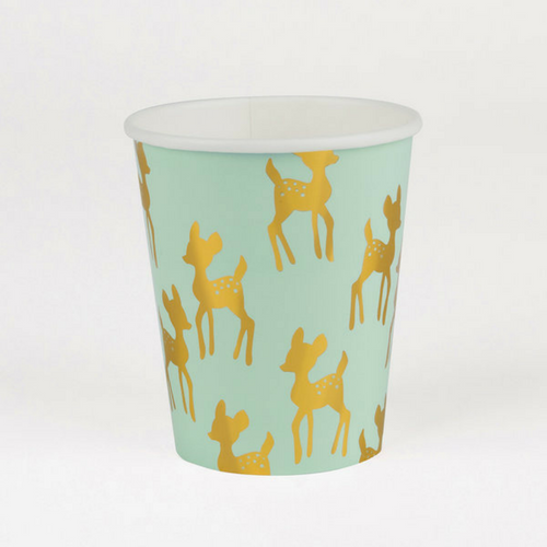 gold and mint fawn cups