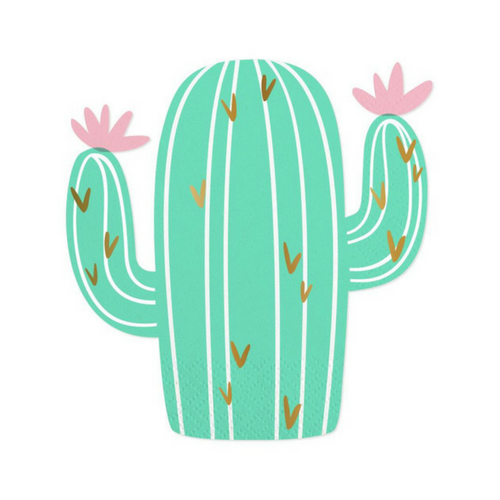 cute die cut cactus napkins with flowers