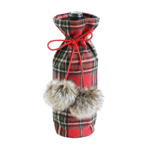 Christmas Plaid fabric wine gift bag