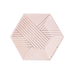 Light Pink and Gold Striped Plate - Small