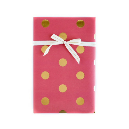 red and gold foil dots holiday wrapping paper