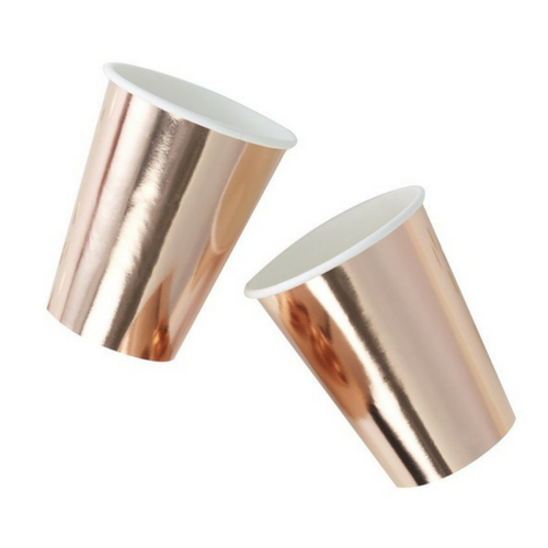 solid rose gold foiled cups