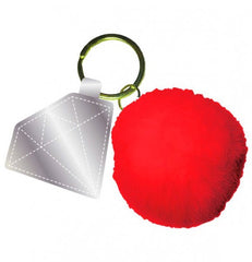 diamond pom pom key chain