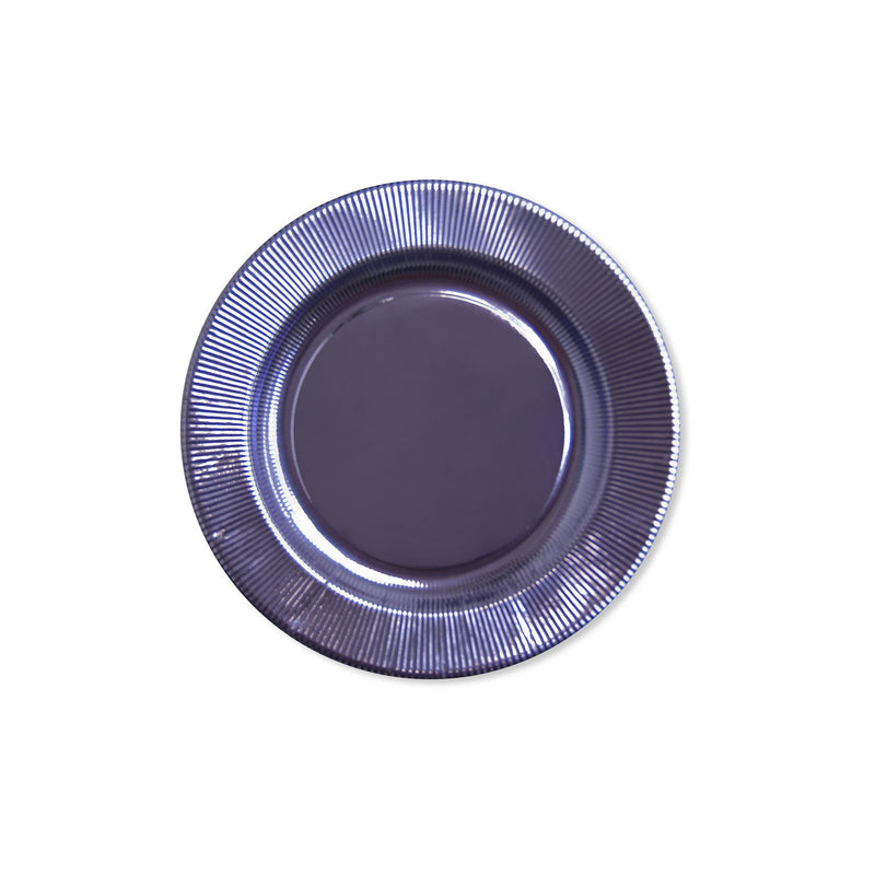 lavender metallic ridge fancy paper plates